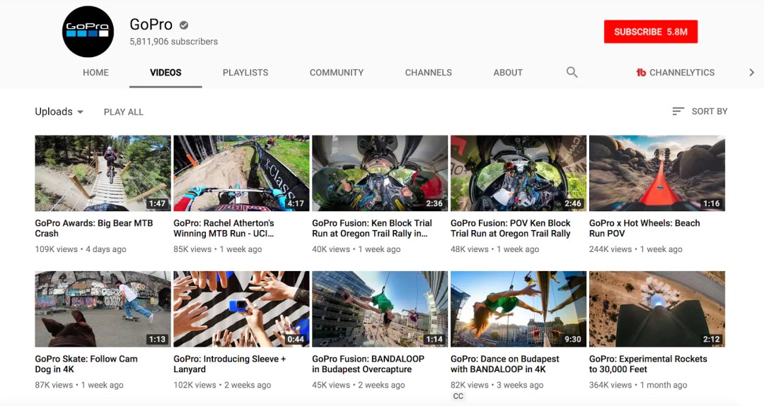 Youtube for business: Gopro is an example of a brand doing storytelling well on the platform