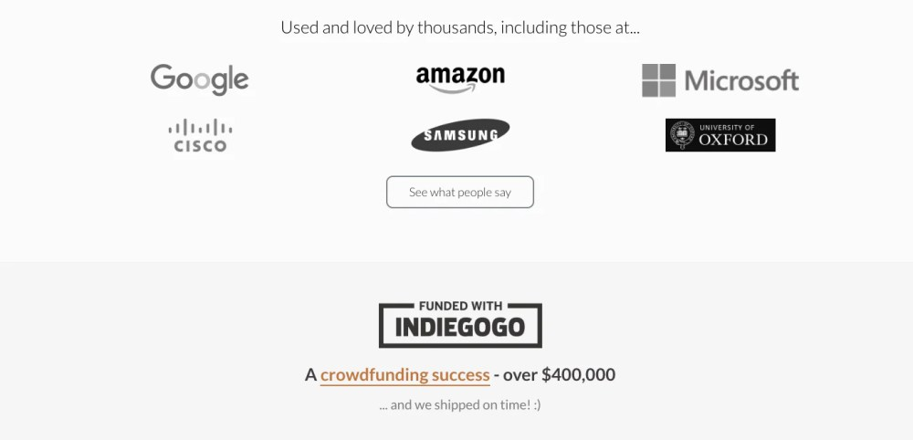 ergo dox social proof on homepage