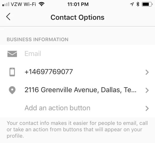 instagram bio contact info