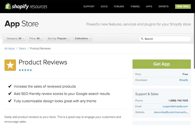 Product Reviews App by Shopify