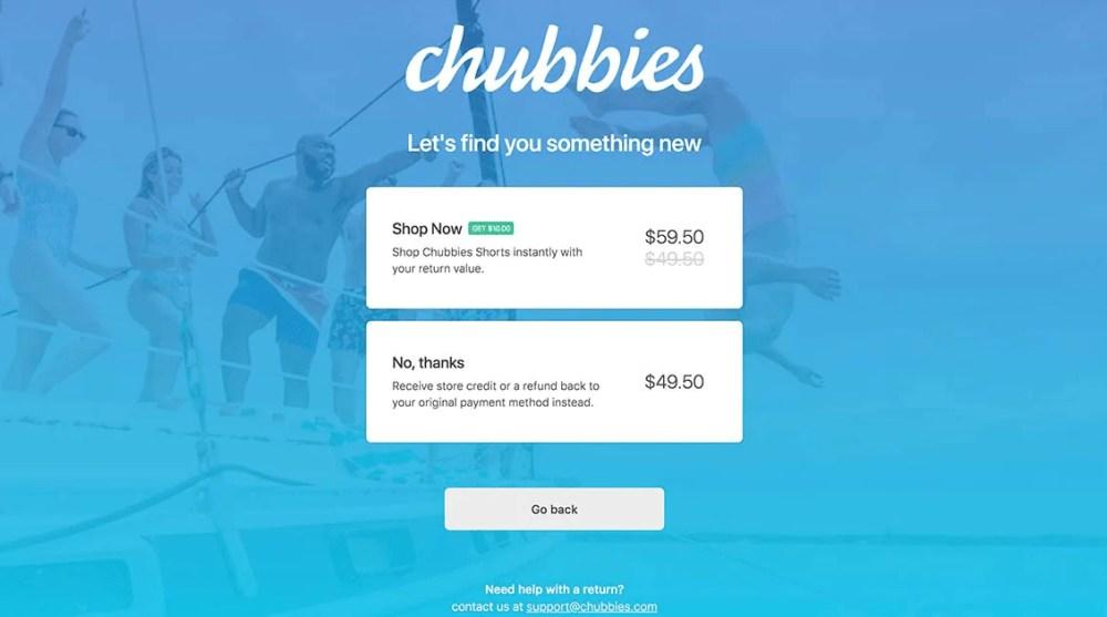 chubbies exchange credit