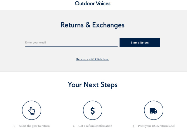 outdoor voices return center powered by returnly