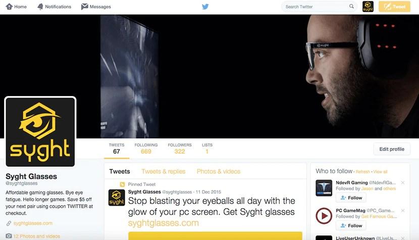 Твиттер-аккаунт Syght Glasses