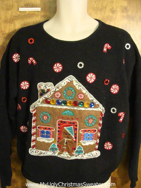 Fun Gingerbread House Themed Ugly Christmas Sweater