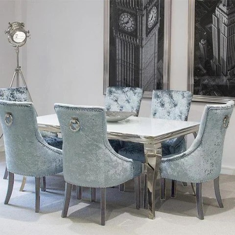 Louis Dining Table White with Pewter Knockerback Chairs