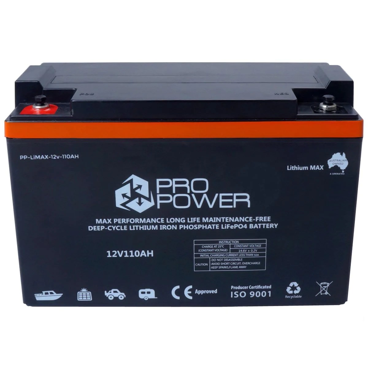 medium resolution of pro power 12v 110ah lithium iron lifepo4 deep cycle battery solar 4wd caravan