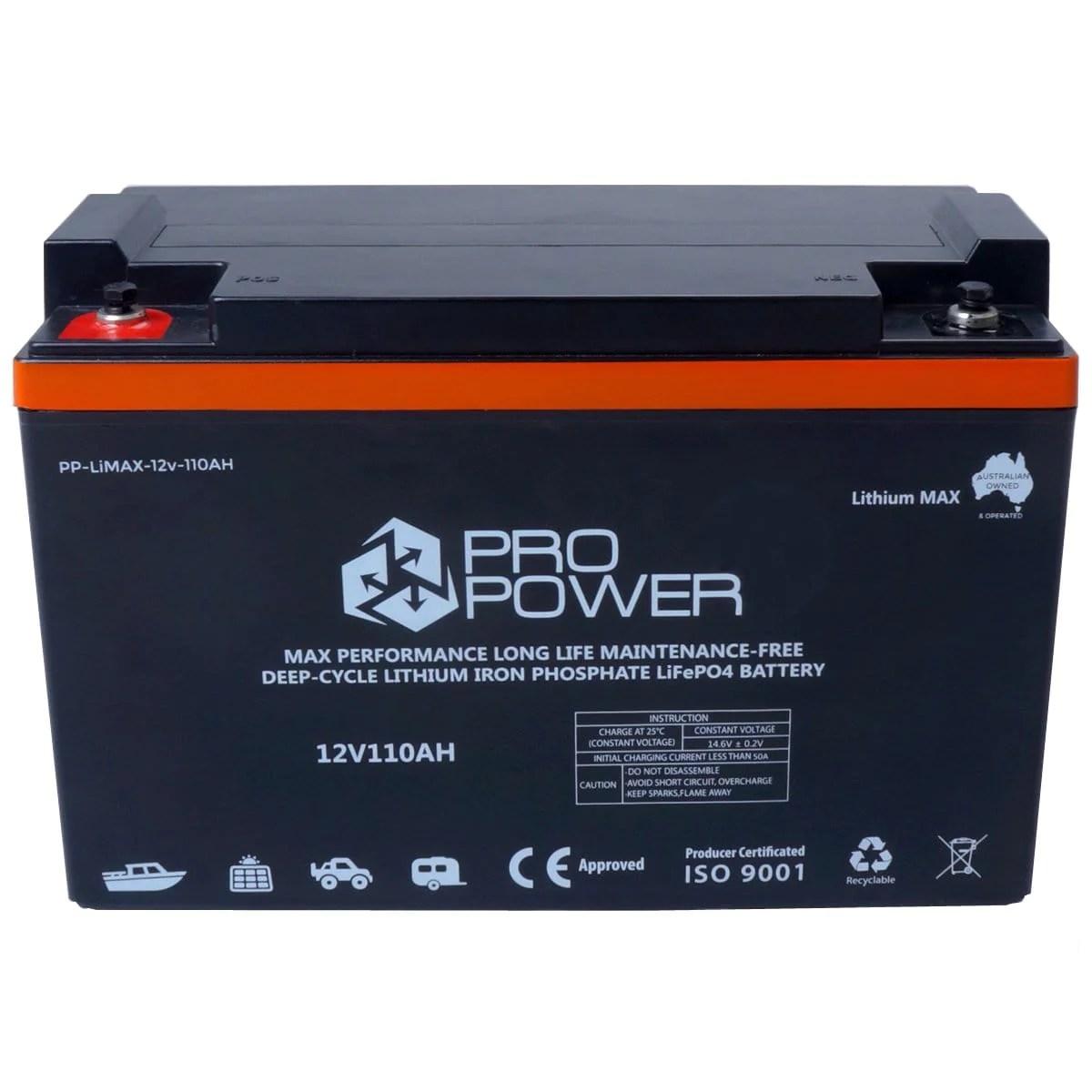 small resolution of pro power 12v 110ah lithium iron lifepo4 deep cycle battery solar 4wd caravan