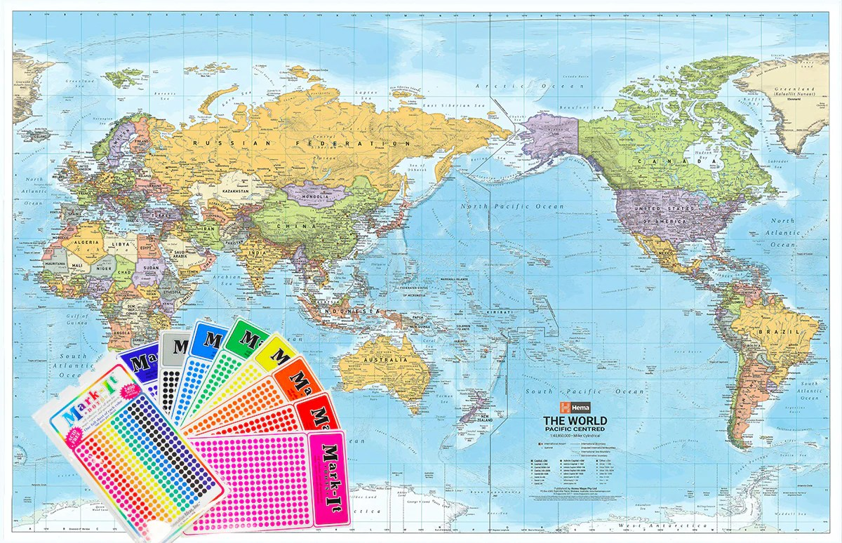 World Political Map Pacific Centred Hema Buy Hema World Map Australia Centred Mapworld