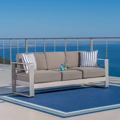 Bay Sofa Leather Recliner Sets On Sale Crested Outdoor Aluminum Khaki With Tray Gdf Studio