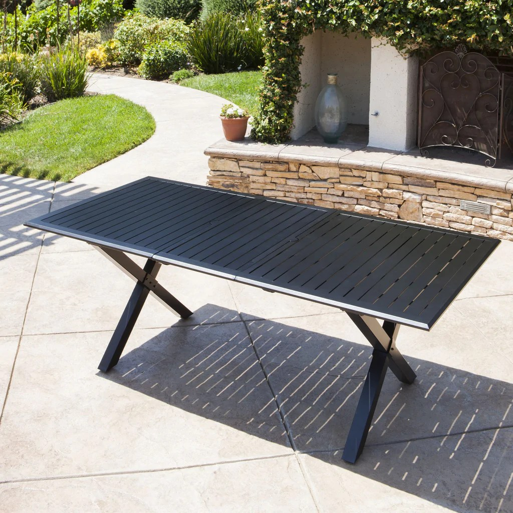 Cast Aluminum Outdoor Dining Table Expandable