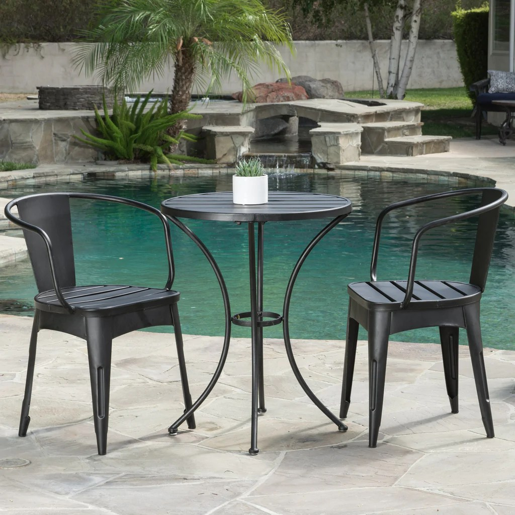 Metal Bistro Table And Chairs Castro Outdoor 3 Piece Black Cast Bistro Set