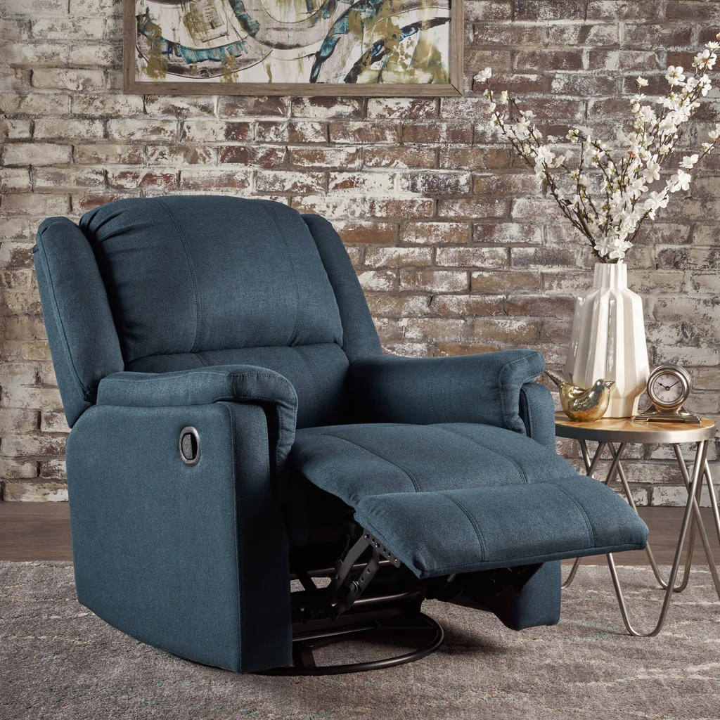 Swivel Recliner Chairs Jemma Tufted Fabric Swivel Gliding Recliner Chair