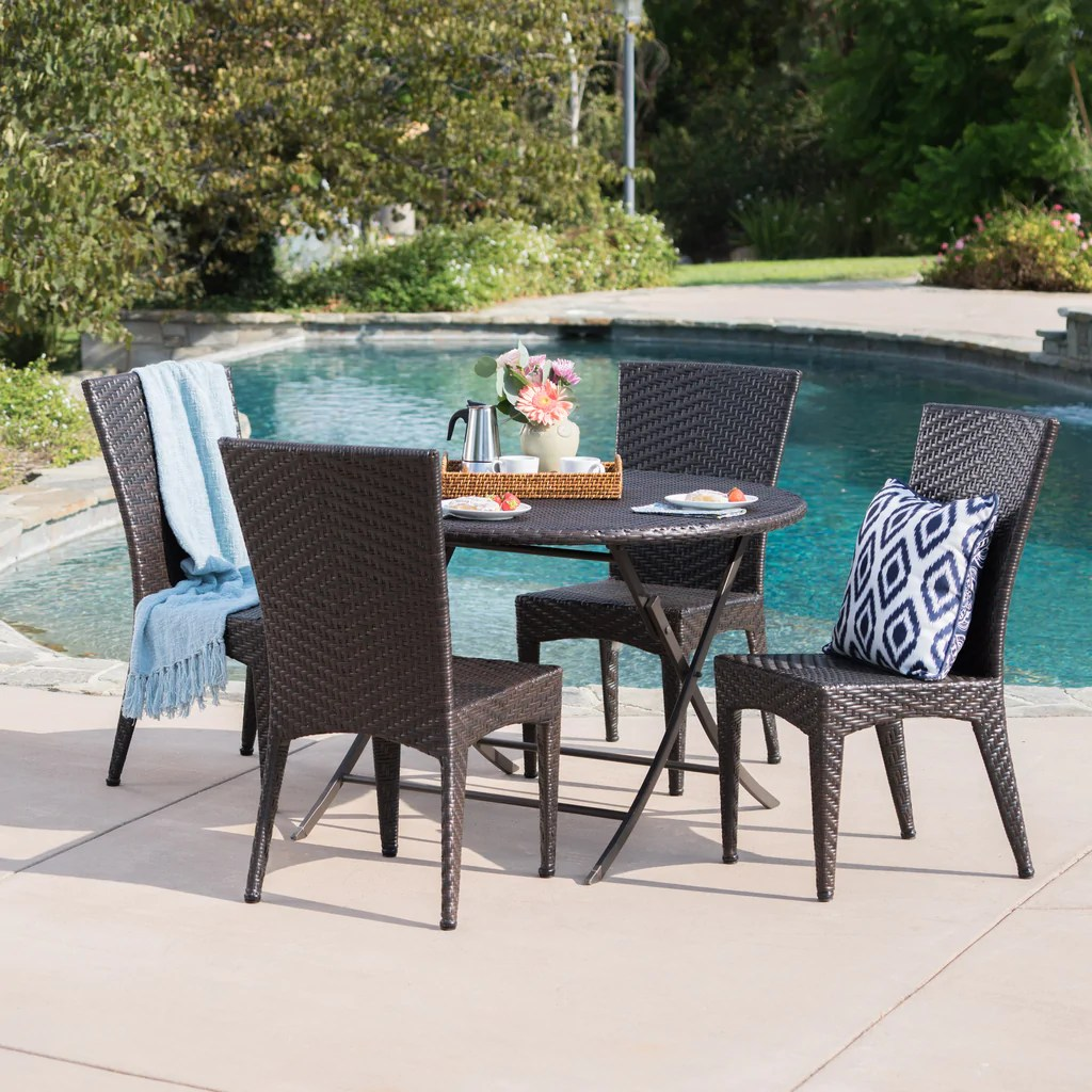 Abbey Outdoor 5 Piece Multi-brown Wicker Dining Set With