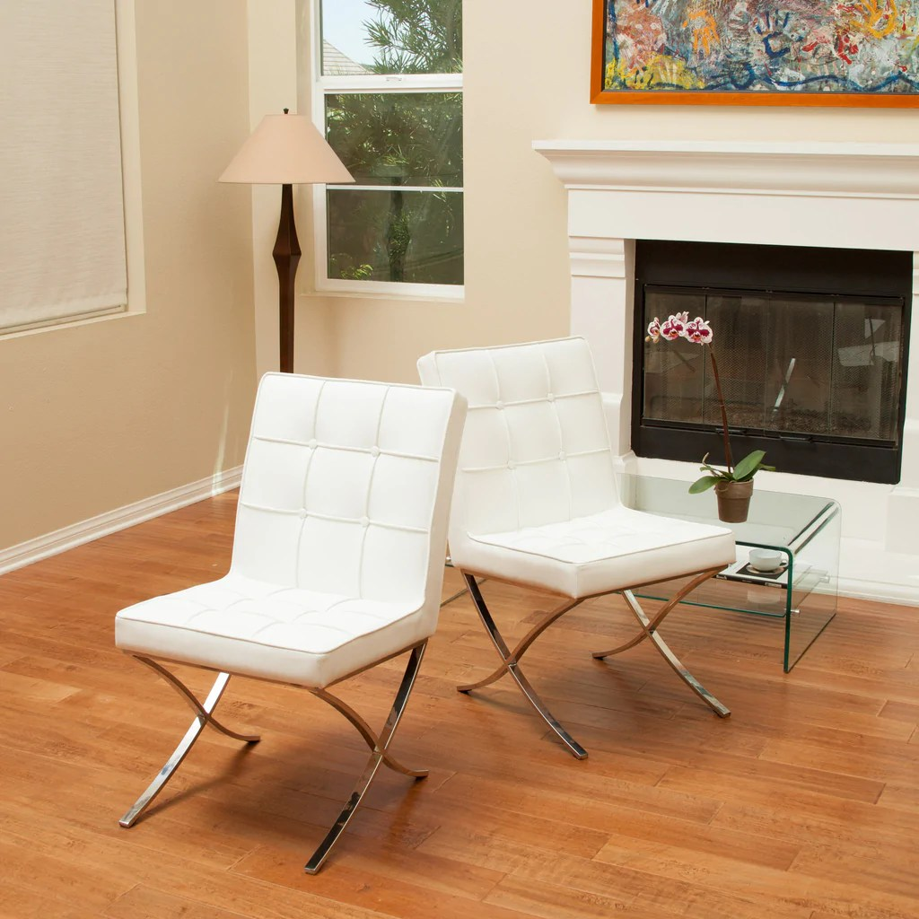 Modern Leather Chairs Pandora Modern Design White Leather Dining Chairs Set Of 2