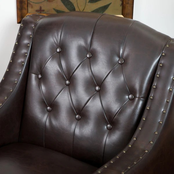 Nottingham Tufted Brown Leather Club Chair  GDF Studio