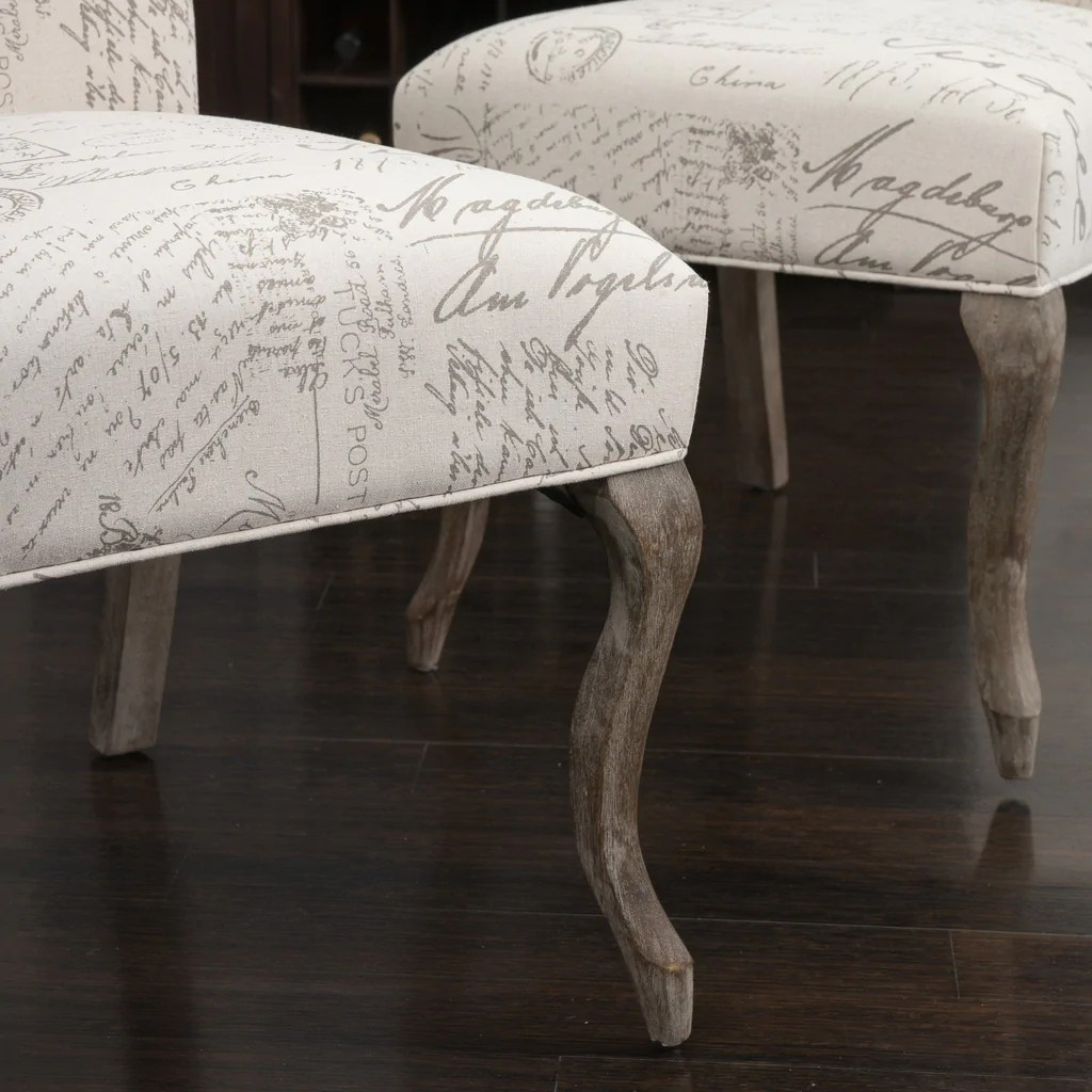 French Script Chair Crown Back French Script Beige Fabric Dining Chairs Set