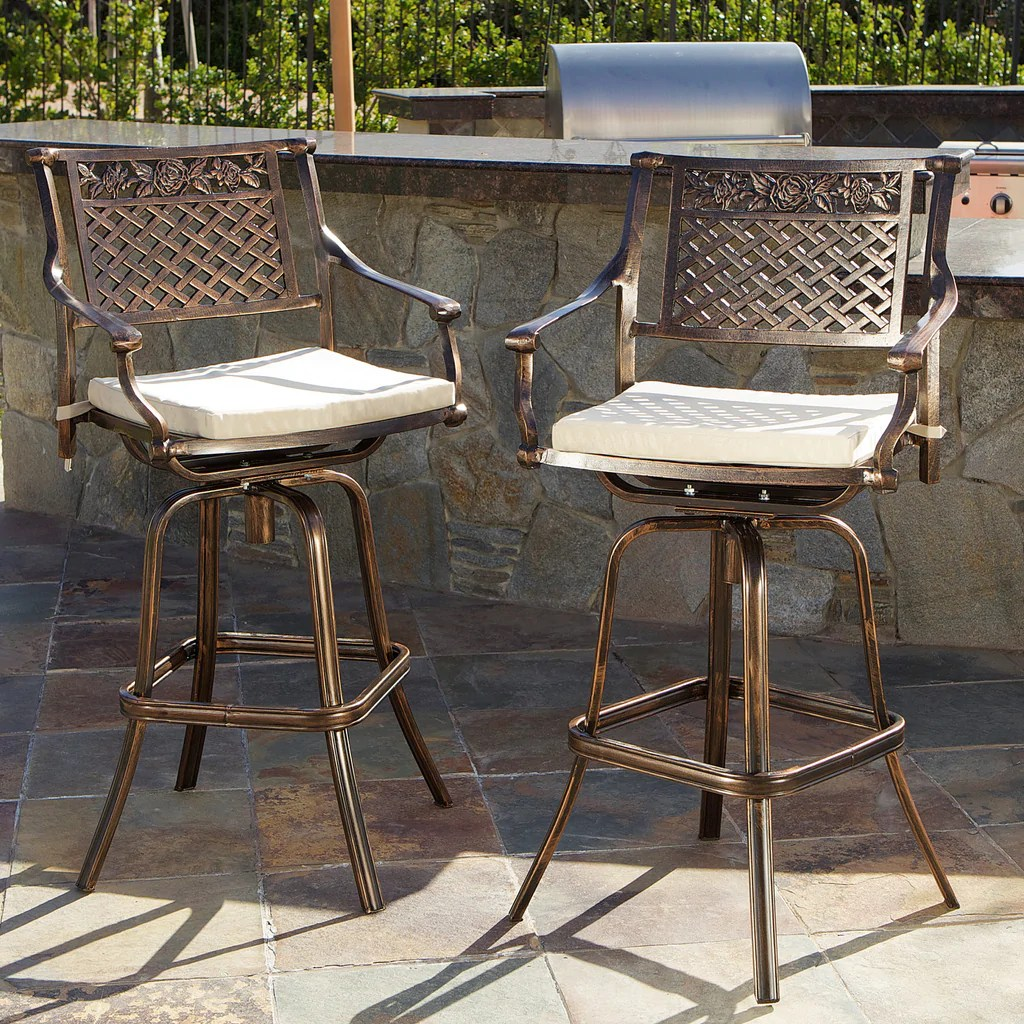 Sierra Outdoor Cast Aluminum Swivel Bar Stools With Cushion Set Of 2 Gdf Studio
