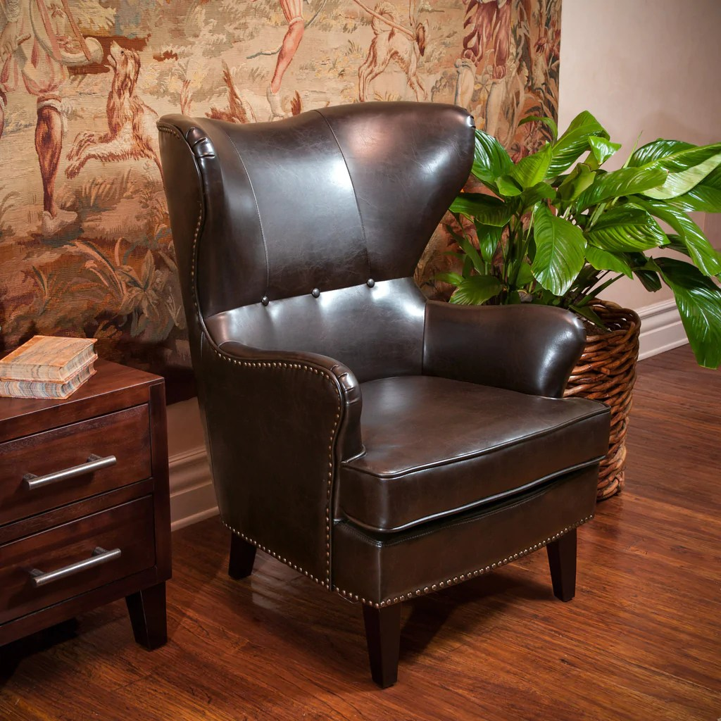 Brown Leather Wingback Chair Romford Brown Leather Wingback Club Chair