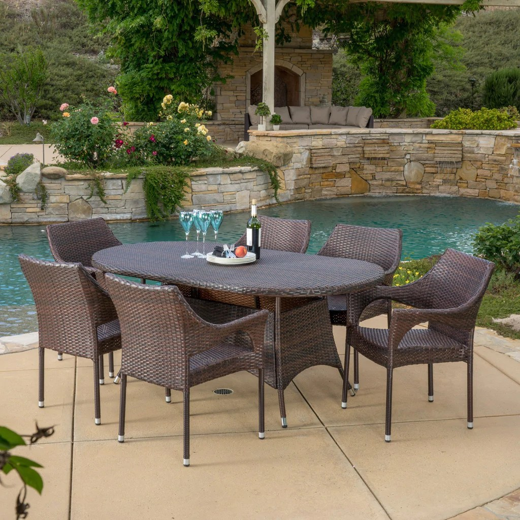 Clayton Outdoor 7pc Multibrown Wicker Dining Set