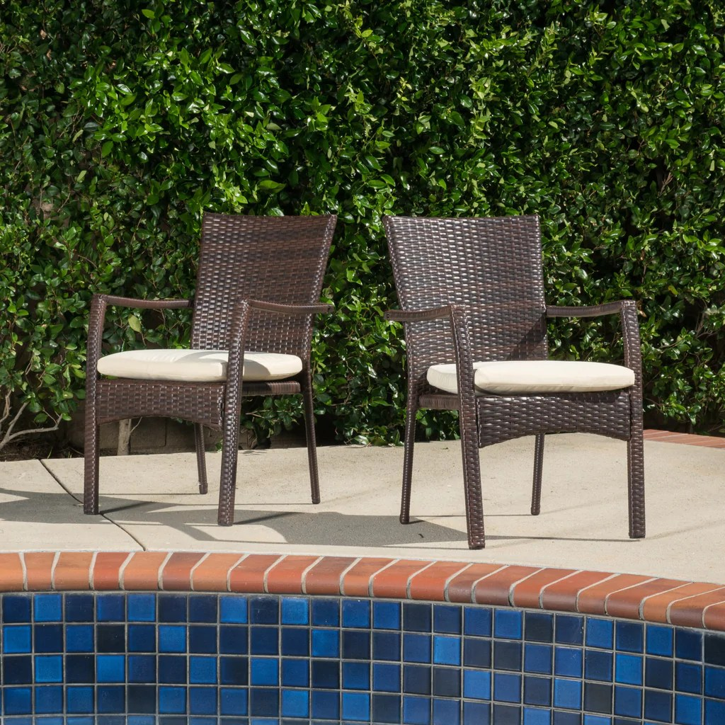 Melba Outdoor Brown Wicker Dining Chair With Beige Cushion