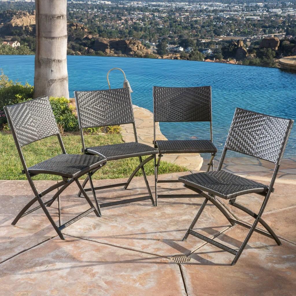 Jason Outdoor Brown Wicker Folding Chair Set Of 4 Gdf