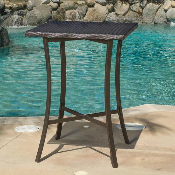 Cait 40Inch Brown Outdoor Wicker Bar Table  GDF Studio
