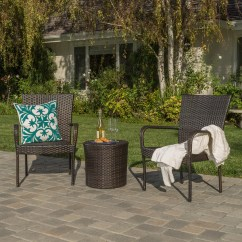 3 Piece Kitchen Bistro Set 2 Person Table Charleston Outdoors Brown Wicker Stacking Chair ...