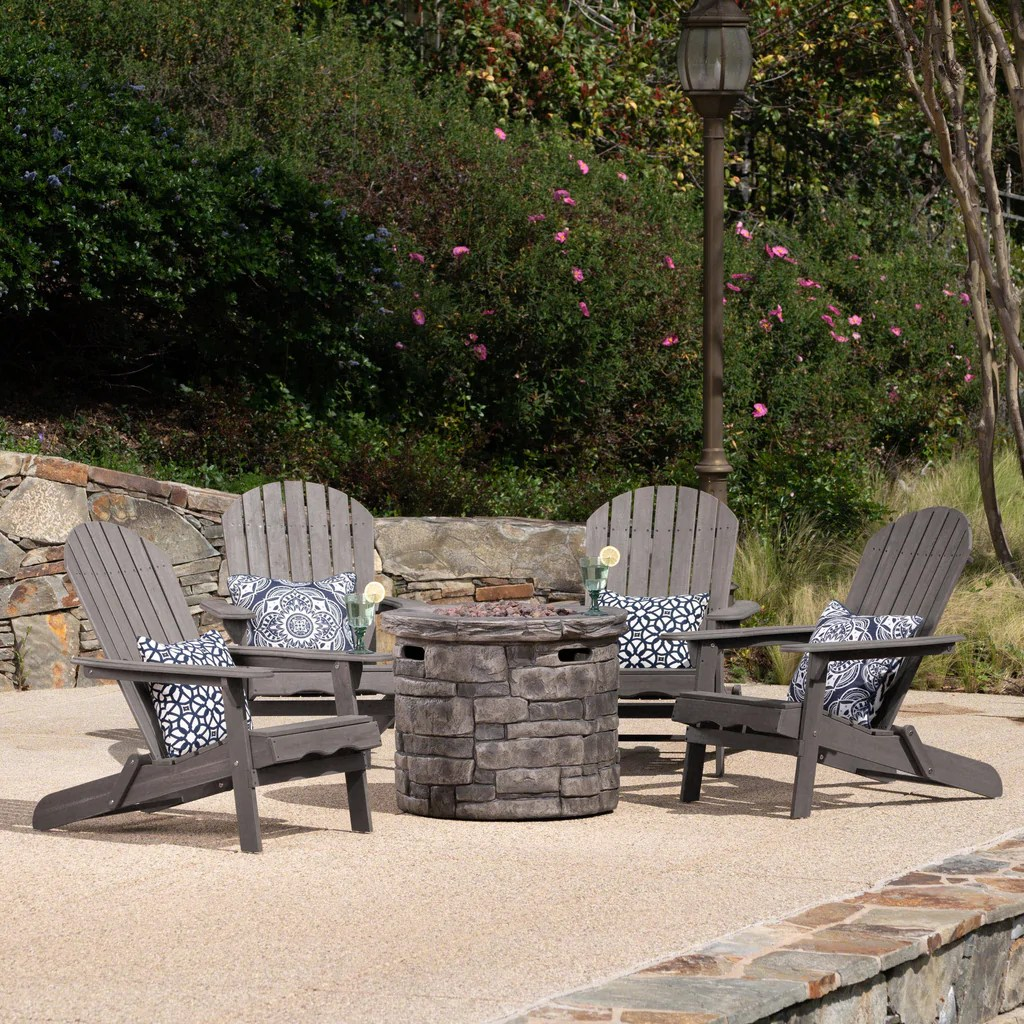Adirondack Chair Set David Outdoor 5 Piece Adirondack Chair Set With Fire Pit