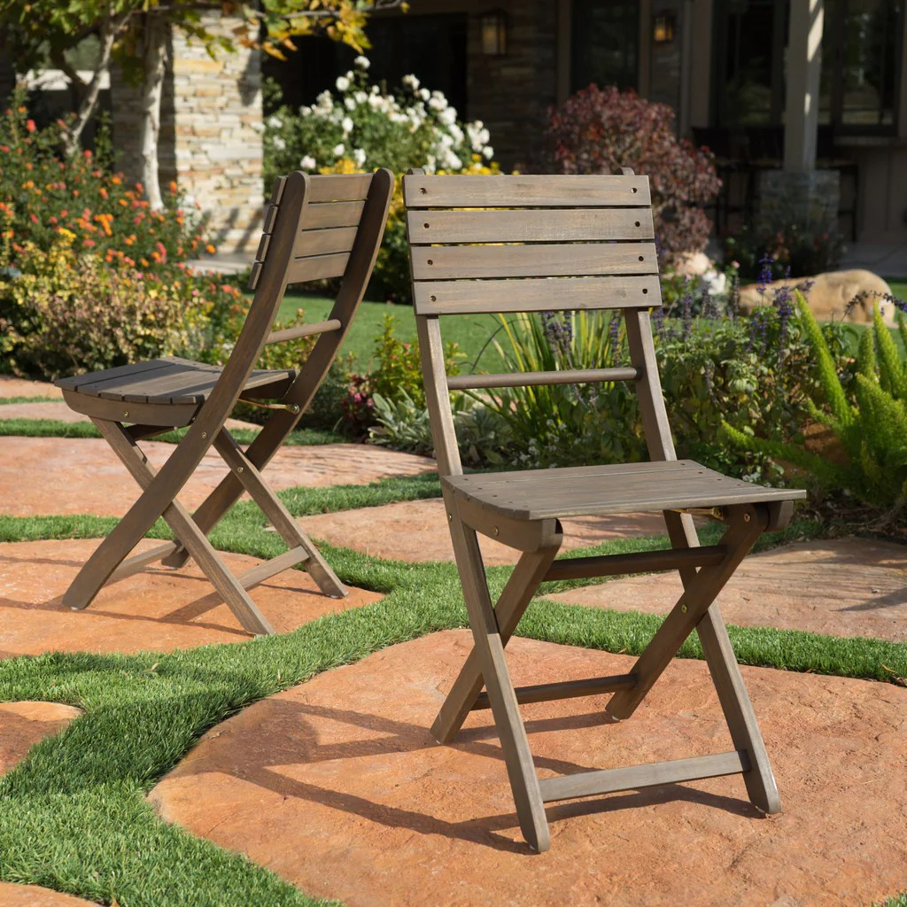 Foldable Dining Chairs Vicaro Outdoor Grey Finish Acacia Wood Foldable Dining Chairs Set Of 2