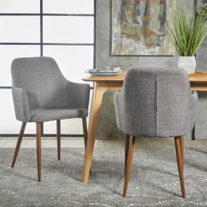 Serra Mid Century Fabric Dining Chair With Wood Finished Metal Legs Set Of 2