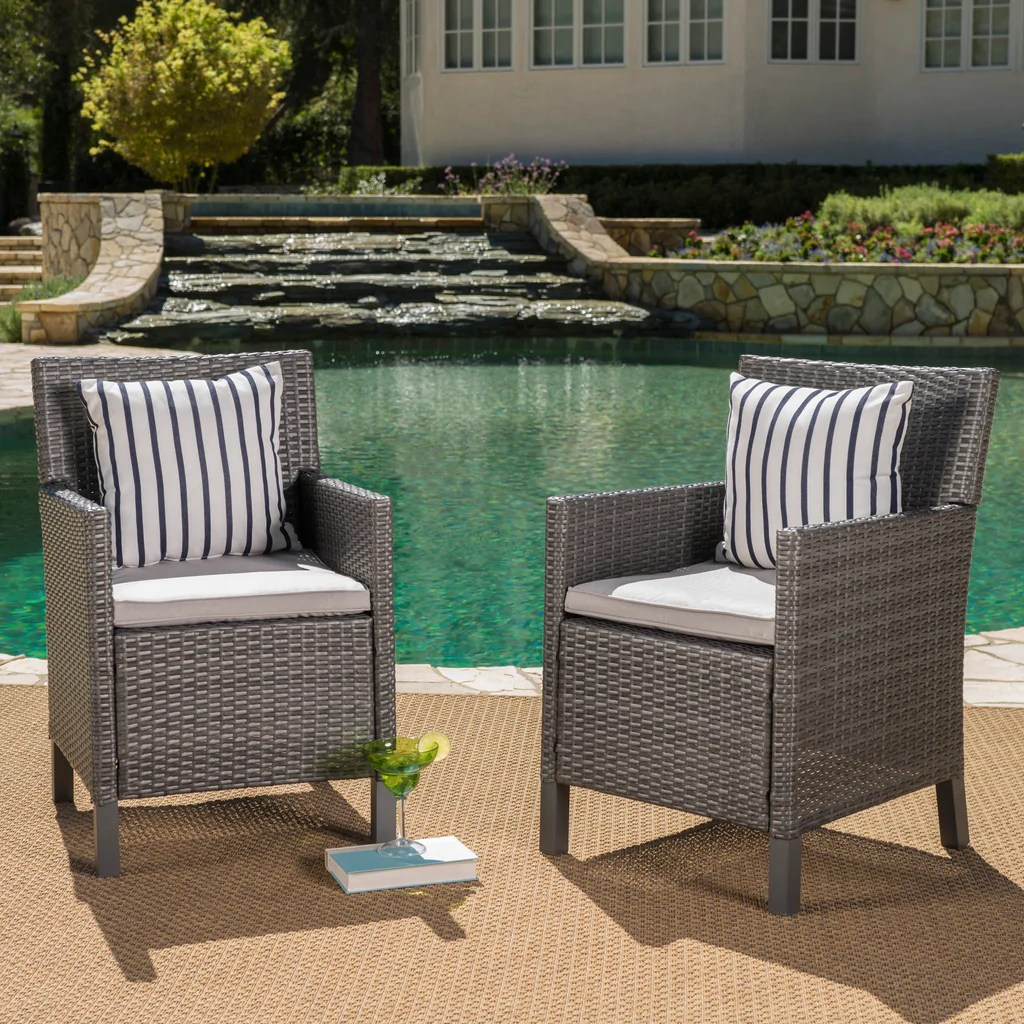 Outdoor Wicker Dining Chairs Cyrus Outdoor Wicker Dining Chairs With Water Resistant Cushions Set Of 2