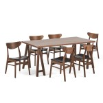 Camilla Mid Century Modern 7 Piece Dining Set With A Frame Table Gdfstudio