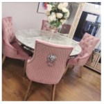 Oxford Dining Table Marble Top With Lion Knocker Chairs Pink House Of Bling Furniture Boutique