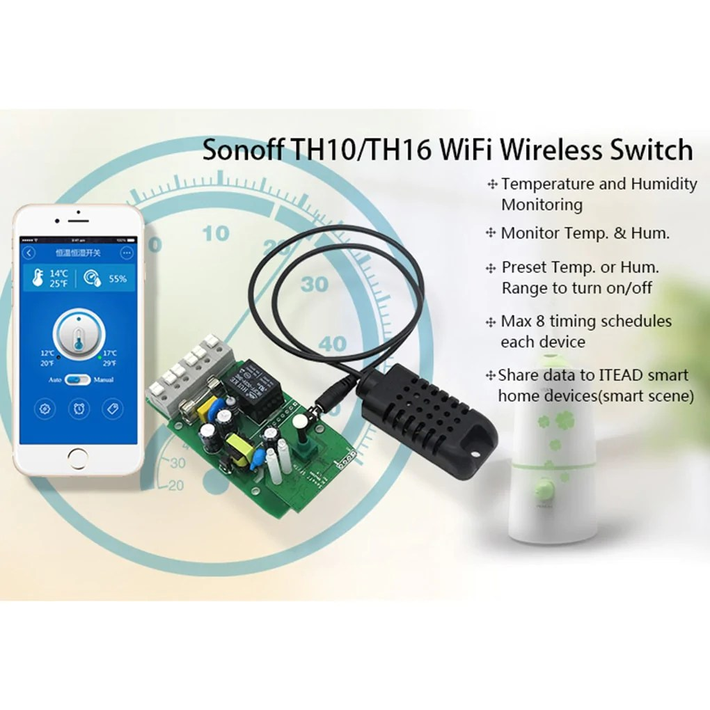 load image into gallery viewer sonoff th16 smart wifi switch monitoring temperature humidity wireless wifi  [ 1020 x 1020 Pixel ]