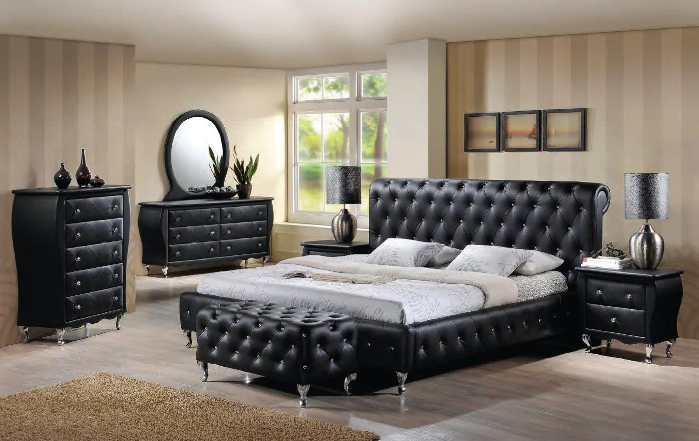 romeo black king bed dresser mirror