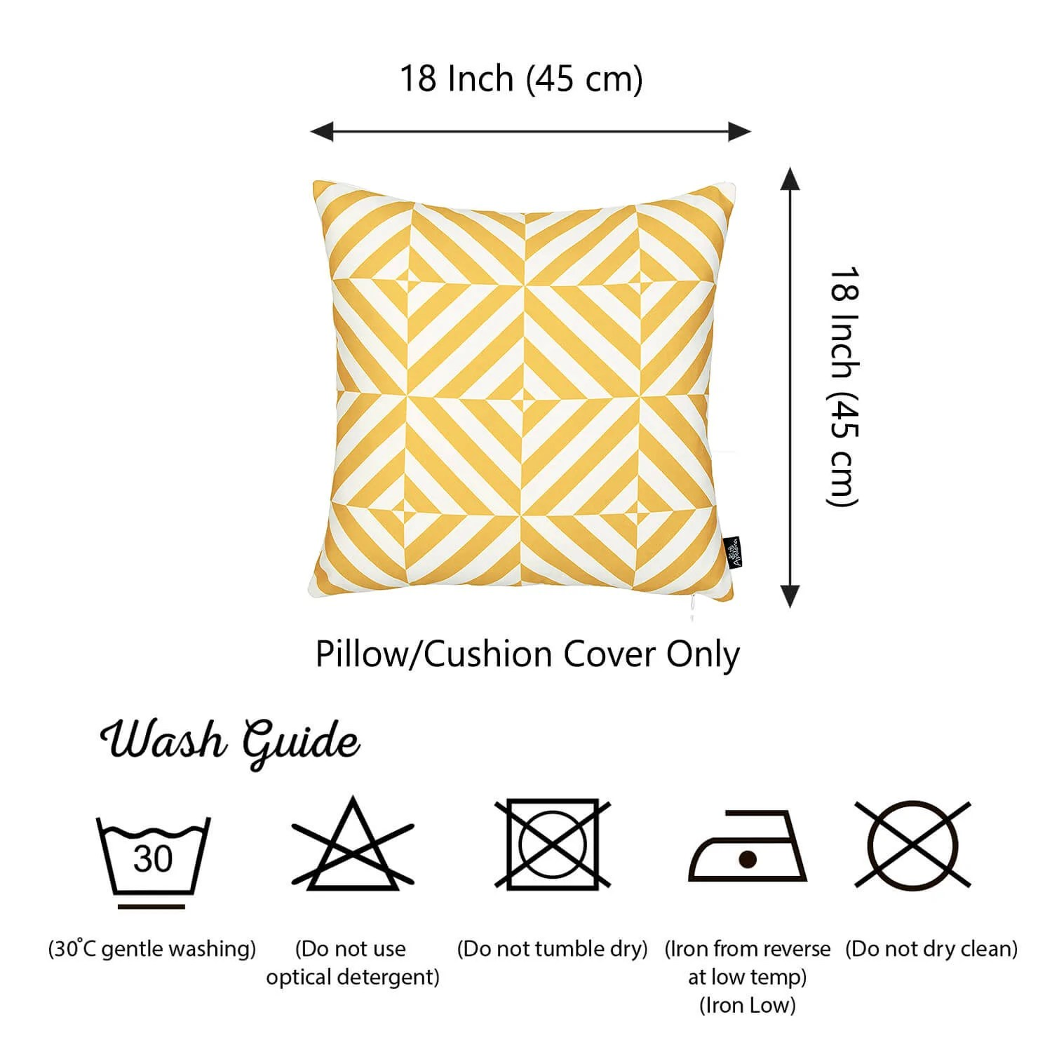 geometric yellow diagram decorative throw pillow cover printed home decor 18 x18  [ 1500 x 1500 Pixel ]