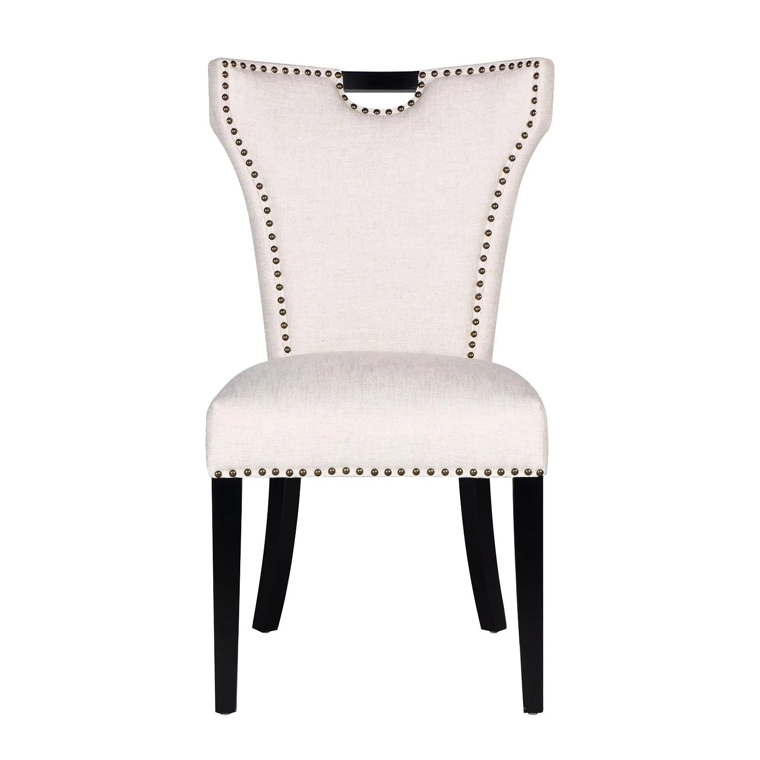 Studded Dining Chairs Baker Dining Chair In Cream Linen