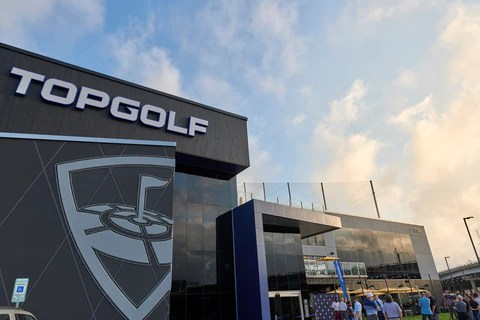 The exterior entrance of Topgolf