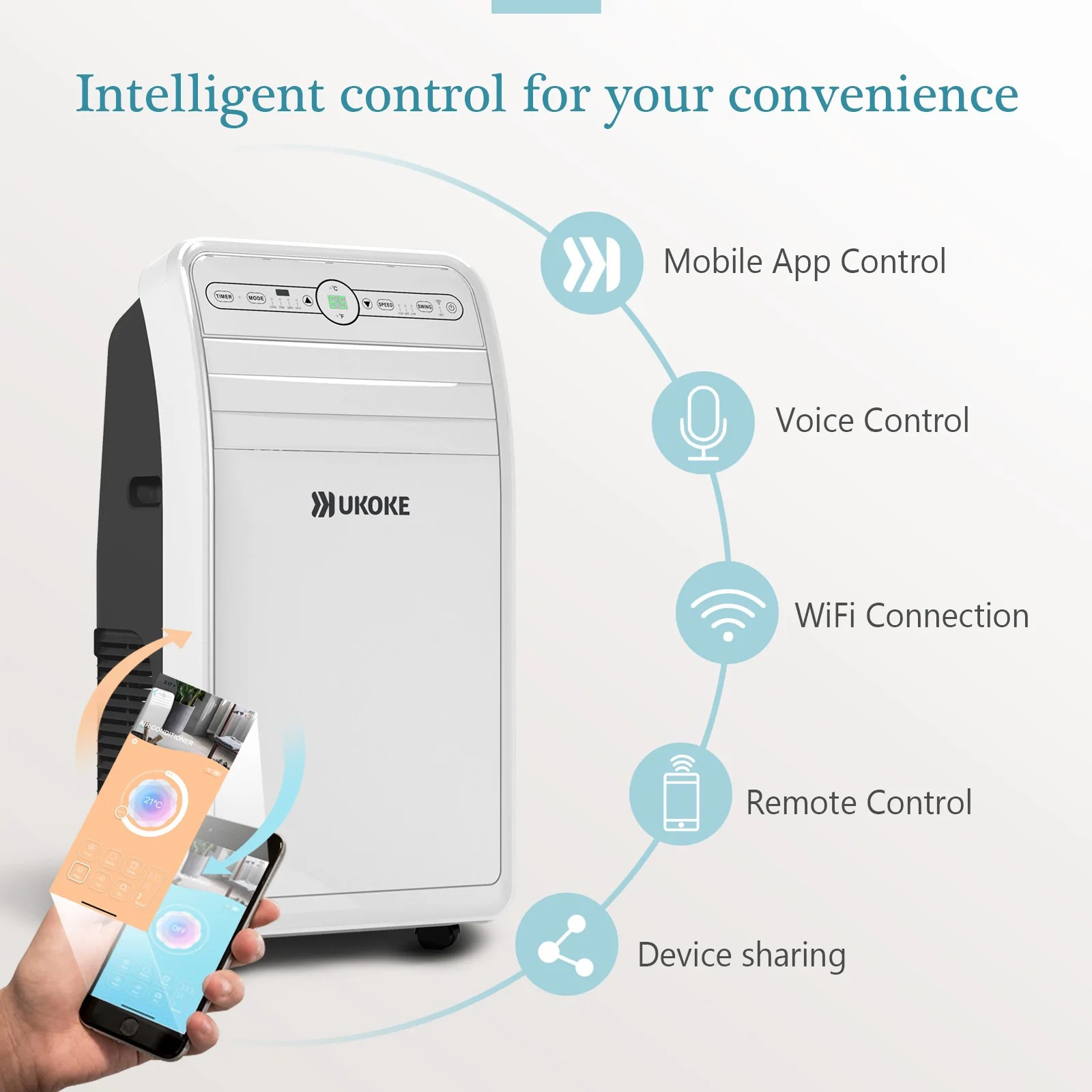 ukoke uspc01w smart wifi portable air conditioner works with mobile app control 12000btu  [ 1600 x 1600 Pixel ]