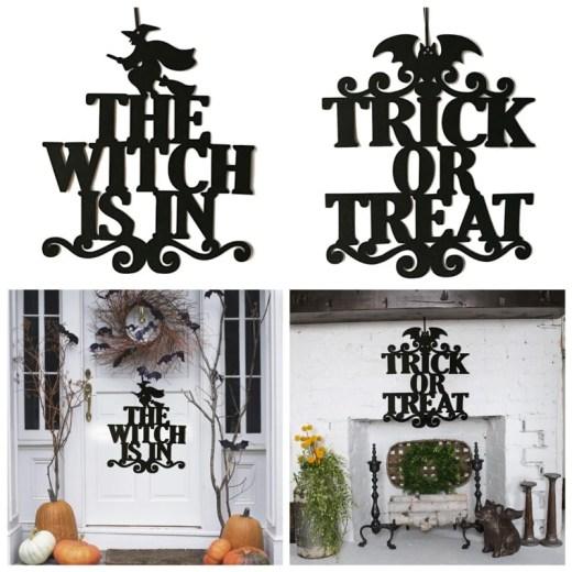 1Pc Trick Or Treat Decor Non-woven Spooky Witch Bat Door Sign Halloween Party Decor Hanging Props Party Decor