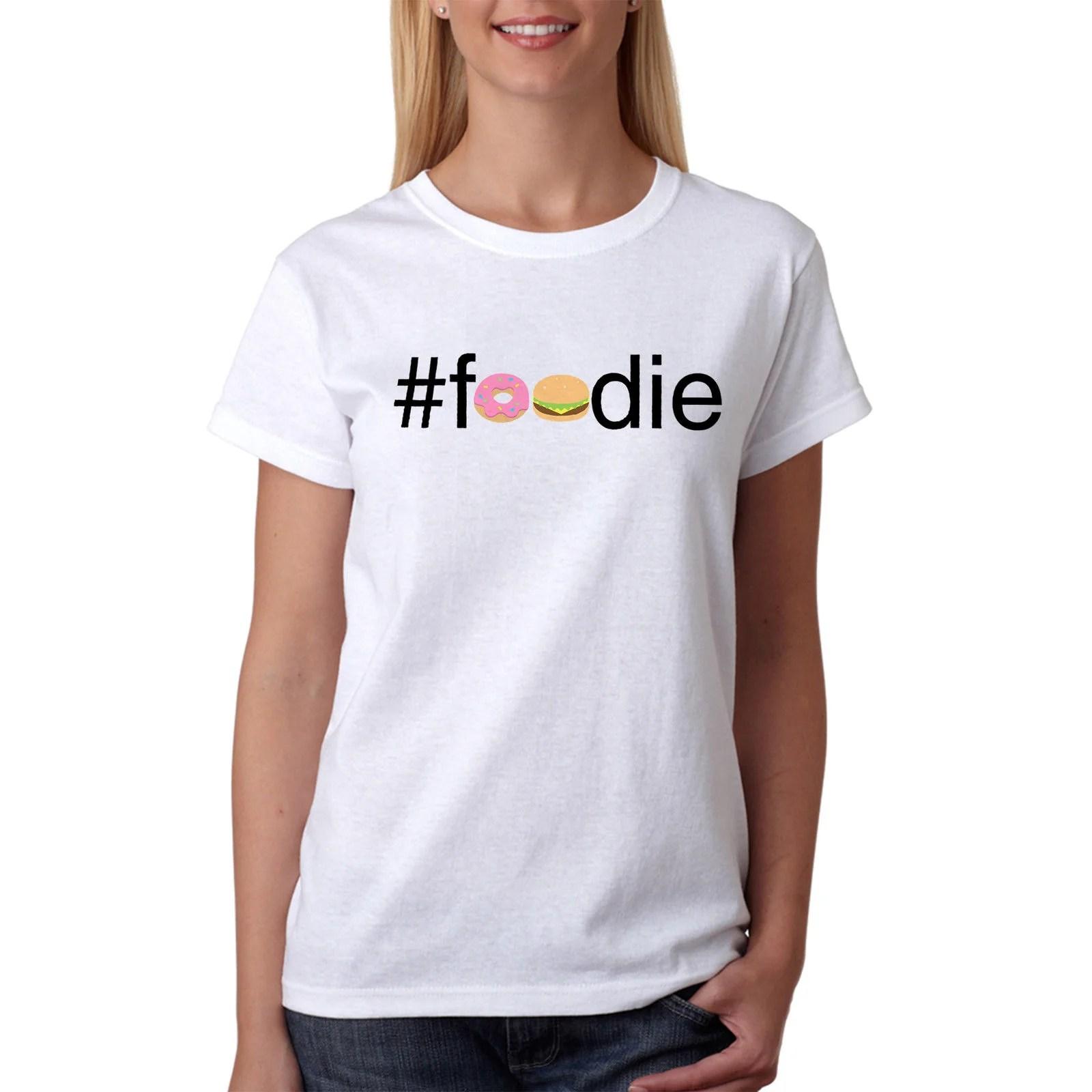 #Foodie Emoji Images Women's White T-Shirt NEW Sizes S-XL Feminist Looks Like New Fashion White Print Cotton T Shirt White Style