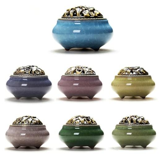 Alloy Ceramic Holy Tibetan Incense Burner Mini Incense Burner Incensory Craft Aromatherapy Pot Vintage Home Decor