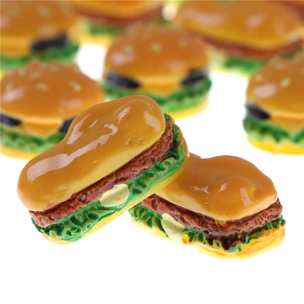 2 PCS 2 Styles Hamburger Cute Miniature Food Figurine Anime Action Figure Toys DIY Accessories Home Garden Decor Hamburgers