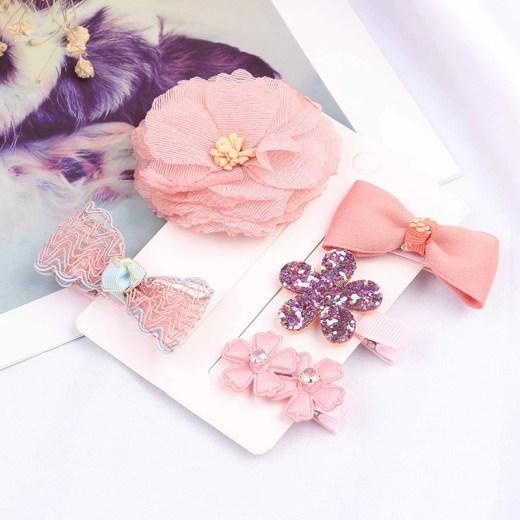 1set Cartoon Flowers Bowknot Hairpins Children Lace Hair Clips Kids Girls Handmade Bling Barrettes Accessories Headwear
