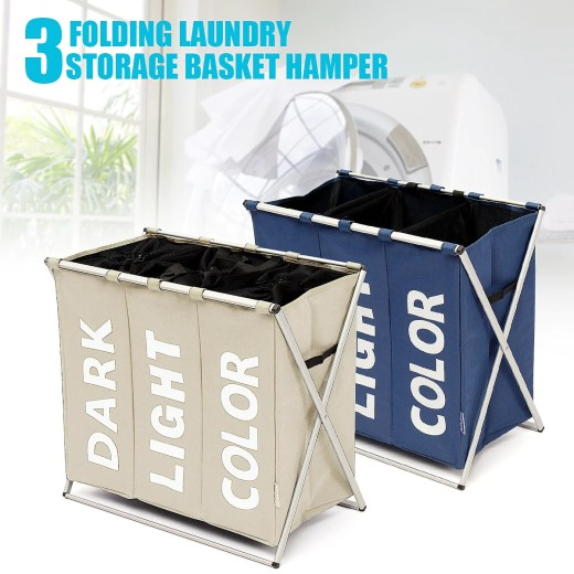 1Pcs 3 Section Folding Laundry Sorter Hamper Organizer Washing Clothes Basket Storage Oxford Polyester Foldable 630x380x570mm