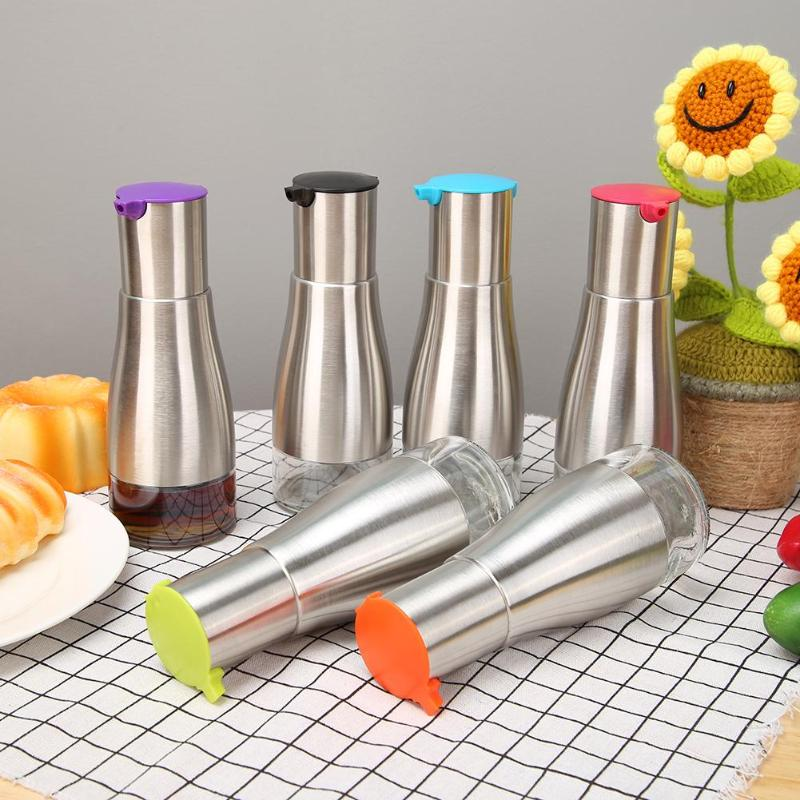320ml Stainless Steel Seasoning Bottle Dispenser Sauce Oil Vinegar Glass Storage Pot Cooking Kitchen Tools Accessories