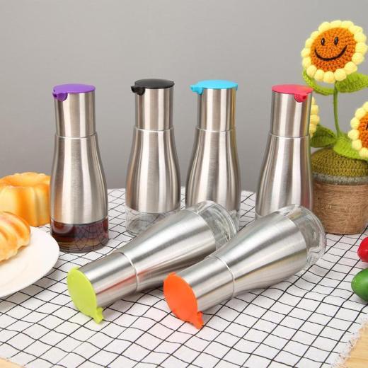 320ml Stainless Steel Seasoning Bottle Dispenser Sauce Oil Vinegar Glass Storage Pot Cooking Kitchen Tools Accessories