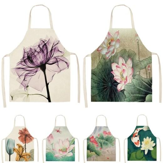1Pcs Flower Lotus Pattern Women Lady Apron for Home Kitchen Restaurant Cooking Bib Aprons Catering Anti-Fouling 53*65cm  WQ0006