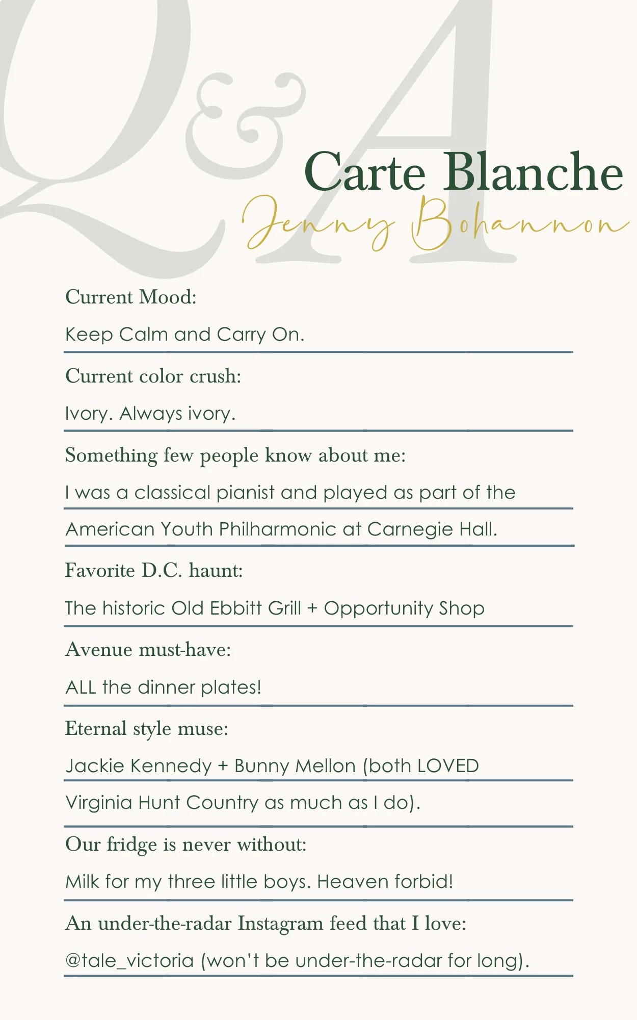 carte blanche with jenny bohannon