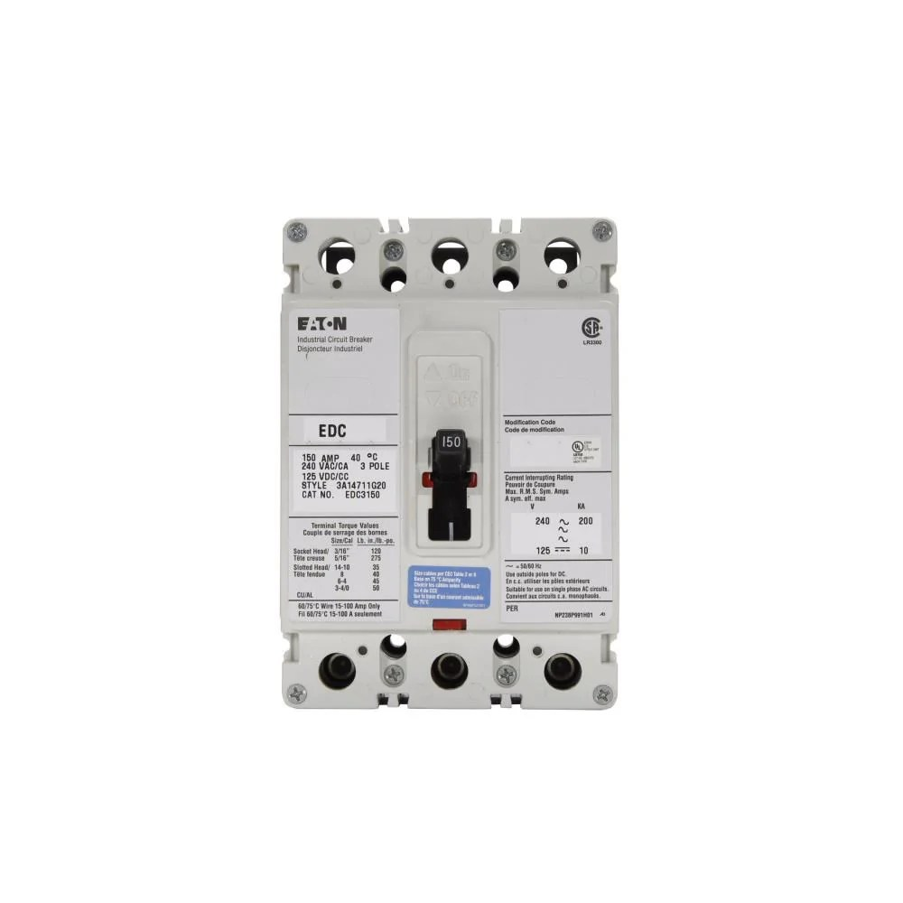 small resolution of edc3100l eaton cutler hammer 100 amp 3 pole 240 volt molded case circuit breaker